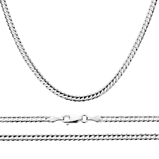 men fine 14k white gold chain 3mm concaved curb necklace free gift box