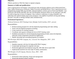 Resume Web Developer Sample Resume Format Gogetresume Intended