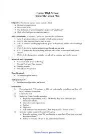 Simple High School Resume Examples Simple Sample Lesson Plan In Senior High School High School