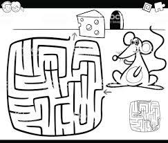 Doolhof Met Muis Kleurplaat Pagina Stockvectorkunst En Meer Beelden