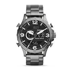 nate analog digital smoke stainless steel watch fossil nate analog digital smoke stainless steel watch