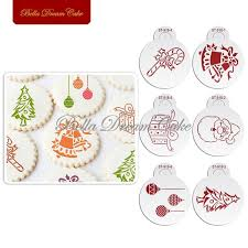 Happy Christmas Gift Bell Cookies Stencil Coffee Template Stencils