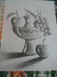 fruit bowl drawing with shading. Delighful Drawing Fruit Bowl  Pencil Shading With Drawing E