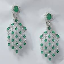 10 80 ct emerald and diamond chandelier earrings in 18k white gold