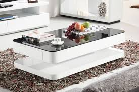 courbe 1m white gloss coffee table black glass drawer within glass white coffee table