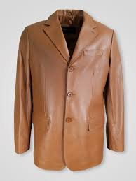 light tan colored pure leather jacket for men
