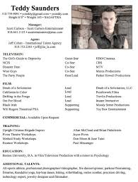 Resume For Actors And Technical Theatre Resume Also Actor Resume
