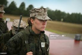 Marine recruit Jacklyn Powers, from Des Moines, Iowa waits with other...  News Photo - Getty Images