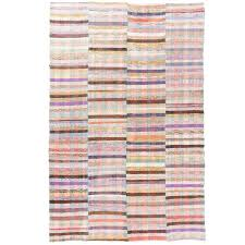striped colorful cotton rag rug flat weave kilim for