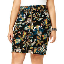 Inc International Concepts Plus Size Printed Zip Front Skirt