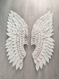 pair of extra large white metal angel wings wall art on angel wings wall art liverpool with pair of extra large white metal angel wings wall art in havant