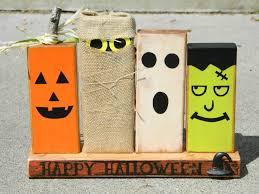 Primitive Halloween decoration with wooden monsters pumpkin ghost  Frankenstein and ghoul happy halloween. $30.00,
