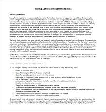Writing Student Letter of Re mendation Guidlines Printable
