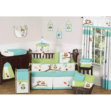 sweet jojo designs hooty turquoise and lime 9 piece crib bedding set hooty gr bu 9 jpg