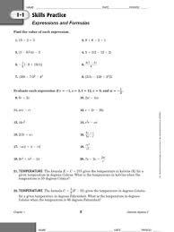 1 1 skills practice variables and expressions answer keysolving absolute value equations worksheet 1