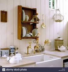 Kitchen Dish Rack Country Kitchen With Sink And Wooden Dish Rack In English Country