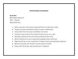 Bartender Resume Job Description Job Description For Bartender On