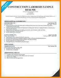 Construction Labor Resume Labor Foreman Resume Laborer Resume ...