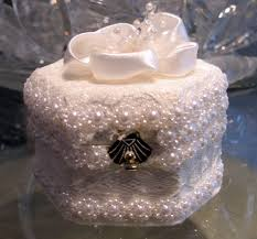 Decorative Ring Boxes Elegant hand made lace wedding and engagment ring boxes 1