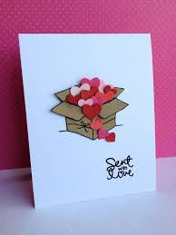 Sent with Love Card  Handmade card for Valentine's Day or any day you want  to send some love. Really cute kraft box overflowing with die cut hearts.