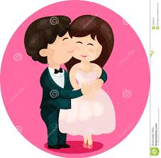 cartoon cute couple kissing