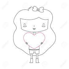 心を持ってかわいい女の子のベクトル イラストこれは透明度グラデーションまたはブレンドが含まれ