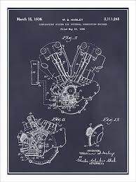 harley davidson knucklehead engine patent print art drawing 1936 harley davidson knucklehead engine patent print art drawing poster 18 x 24