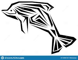 изолированная татуировка дельфина в черно белом иллюстрация штока