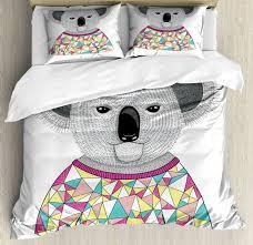 koala queen size duvet cover set hipster animal shirt with 2 pillow shams