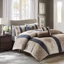 madison park donovan cal king size bed comforter set bed in a bag taupe navy jacquard pattern 7 pieces bedding sets ultra soft microfiber bedroom
