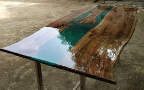 wooden resin river dining table