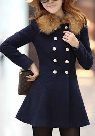 navy blue plain faux fur collar peplum skirted double ted wool coat outerwears tops