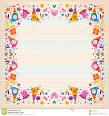 happy birthday border lined paper card space for text stock royalty stock photo happy birthday border lined paper