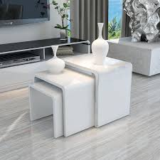 side tables high gloss side table white high gloss nest of 3 table wooden coffee