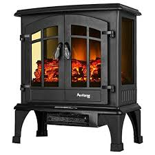jasper free standing electric fireplace stove 25 inch portable electric vintage fireplace with realistic fire and logs adjustable 1500w 400 square feet