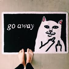 Exceptional Home Accessory Home Decor Doormat Cats Go Away Middle Finger Carpet Black  Cats Rug