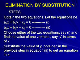 elimination by substitution steps obtain the two equations