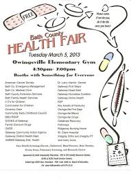 Health Fair Flyers Bath County Annual Health Fair Bath County Schools