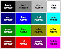 Hex Color Chart Manorbooks