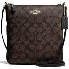 Coach Signature North   South Crossbody Bag Black   Brown   Gold   F58309