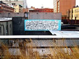 the high liners urban art mural viewable from the high line park painted with paint and acrylic paint on corrugated metal by artist jordan betten in new