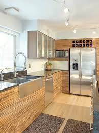cool track lighting. Beautiful Refrigerator Design Feats Modern Track Lighting And Stainless Steel Farmhouse Kitchen Sink Cool C