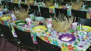 hawaiian themed wedding reception. tables decorated for hawaiian luau wedding reception themed n