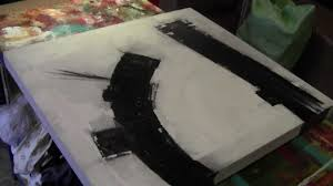 black and white abstract painting on canvas by hardeep s ghatora