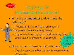 Differences Employee Independent Contractor Interesting Chapter 48Agency Actual V Apparent Actual V Apparent Express V