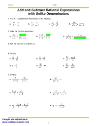 adding subtracting rational expressions like worksheets for all download and share worksheets free on