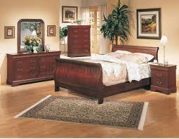 Sleigh Bed Bedroom Set Classic Deep Cherry Finish Elegant 5pc Bedroom Set W Sleigh Bed