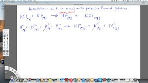 net ionic equation hydrochloric acid and potassium fluoride