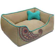 Paisley Sofa inspired embroidery premium microsuede pet bed in beige with 100 1202 by uwakikaiketsu.us
