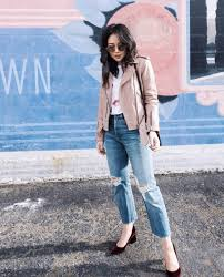 jacket pink jacket leather jacket denim jeans blue jeans ripped jeans pumps sunglasses